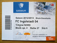 BIGLIETTO 2012/2013 - Blocco dauerkarte-FC Ingolstadt 04, Tribuno NORD-BUNDE LIGA