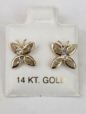 14k Yellow Gold Butterfly Earrings For Pierced Ears Screw Back
