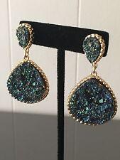 Pendant Drop stud pendant Women's Gold Plated Green Blue Drusy Druzy Iridescent