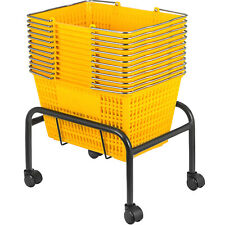 Yellow Plastic Shopping Basket Pack of 12 Handled Baskets