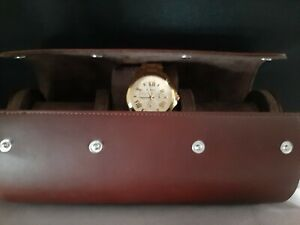 AHW TRAVEL & STORAGE WATCH BOX FOR 3 WATCHES in 2 Colours--Chocolate-Tan