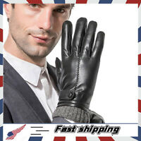 Men Leather Gloves,Driving/Working Touchscreen Lambskin Cashmere Winter Mittens