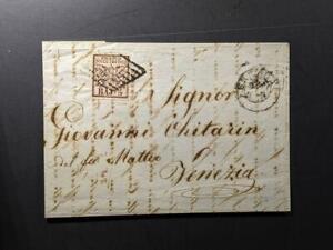 1852 Italy roman states Sc 6 5b black rose on lettercard to Venezia receipt on b