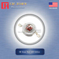 5Pcs 5W Watt High Power Deep Red 640-660nm SMD LED Chip COB Lamp Beads Lights