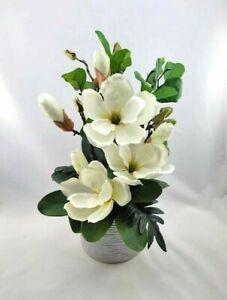White Magnolia Artificial Flower Arrangement in White Pearl Ceramic Vase