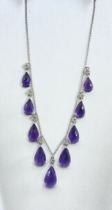 "NATURAL DIAMOND & briolette AMETHYST dangle necklace 18k white GOLD 16"" (VIDEO)"