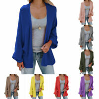 Women's Fashion Long Sweater Bat Sleeve Knit Cardigan Tops Solid Color Casual
