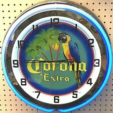 "19"" Corona Extra Beer Sign Double Blue Neon Clock"