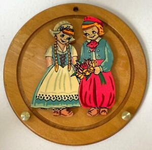 "Vintage Wooden 5"" Round Wall Mount KEY HOLDER PLAQUE Dutch Girl & Boy w/ Tulips"