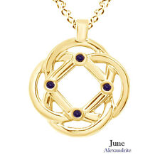Round Cut Alexandrite Celtic Knot Pendant Necklace 14K Yellow Gold Over