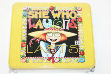 """Mary Engelbreit """"She Who Laughs Lasts"""" Metal Recipe Tin Box with Stationary"""