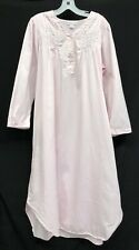 Vtg Miss Elaine Sz L Pink Floral Embroid Silky Midi Womens Nightgown Womens Gown