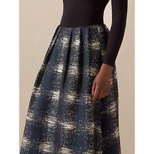 Nuevo + Etiquetas * adorno * argón' ' completo Jacquard Azul Marino crudo falda de tamaño 10 RRP £ 95