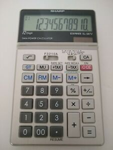 """RARE Sharp ELSIMATE EL-387V 12 Digit Desk Calculator, """"Twin Power"""", WORKS GREAT!"""