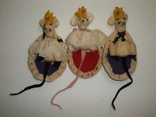 Vintage Felt MICE Christmas Tree Ornament Hand Made Mouse Set Of 3