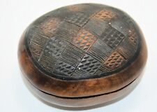 Tribal-look carved wooden lidded bowl