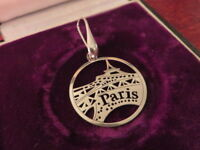 Hübscher 925 Silber Anhänger Paris Souvenir Skyline Scherenschnitt Schlicht Chic