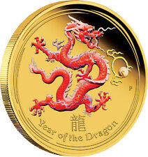 Lunar Coin Series II 2012 Year of the Dragon 1/10 oz Gold Proof Coloured Coin
