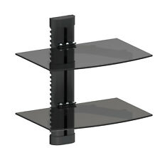 2 Tier Dual Glass Shelf Wall Mount Bracket Under TV Component Cable Box DVR DVD