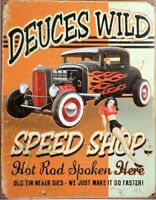 41x31cm USA autos RACING WITH THE DEVIL,HOT ROD,VINTAGE-STYLE METAL WALL SIGN