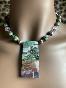 HAND MADE NATURAL JASPER PENDANT WITH MATCHING RUBY IN ZOISITE NECKLACE.