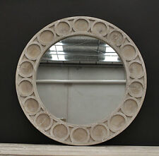 Round Rustic Whitewash Provincial Hamptons Recycled Timber Frame Wall Mirror