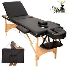 Lettino Massaggi Portatile in Legno 3 Zone Fisioterapia Estetista Zona SPA Nero