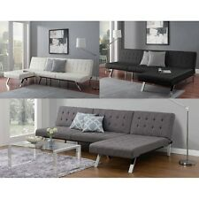 Black Futon Sofa Bed Sleeper Couch Furniture Comfy Chaise Faux Leather Lounge