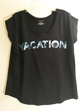 Lane Bryant Navy Sleeveless T Shirt - Vacation Graphic - Sz 14/16 - NWT