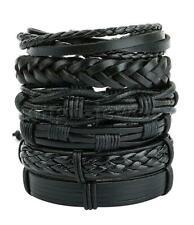 6Pcs Black Braided Leather Bracelet for Men Women Cuff Bangle Wrap Wristband Set