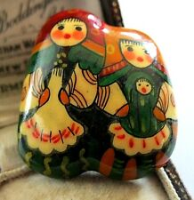 Cute Vintage Old RUSSIAN DOLL Hand Painted Matreshka Enamel Jewellery Pin Brooch