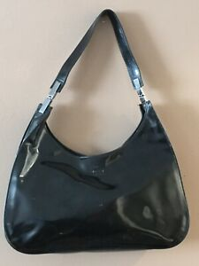 gucci black Enamel leather hobo Shoulder Handbag Small