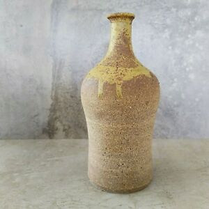 Vintage Pottery Bottle Vase Unsigned Rustic 18.8cm tall Australian Rough Texture