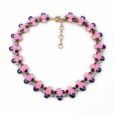 Collana Smalto Fiore Rosa Blu Navy Amber Retrò Originale Sera Matrimonio JCR 16