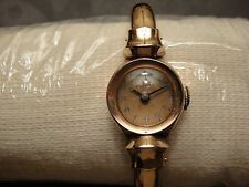 RARE VINTAGE BENRUS 14K SOLID ROSE GOLD LADY'S EXPANDING BANGLE WIND UP WATCH