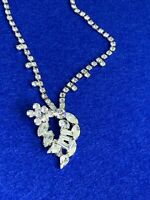 Vintage LARGE RHINESTONE NECKLACE Silver Tone Mint Condition