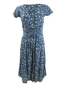 Lucky Brand Women's Flutter Cap Sleeve Maxi Dress M, Navy Multi