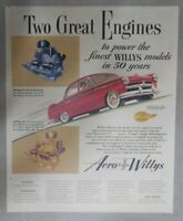 Willys Car Ad: Two Great Engines Aero-Willys ! from 1953 Size: 11 x 14 inches