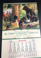Murphy Red Oak Iowa Sample Calendar Fishing  Bear Cards Sportsman 1950 Original