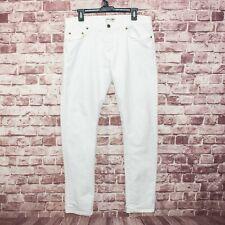 SAINT LAURENT Paris Men's Slim White Denim Jeans Distressed Ripped Size 33