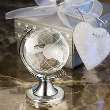 World Globe + Gift Box Crystal Glass Frosted Paperweight Desk Decoration