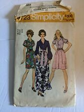 1971 Vintage SIMPLICITY 9723 Misses' Step In Shirtdress Two lengths Sz 14 Bst 36