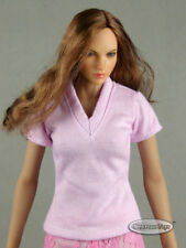 1/6 Phicen, Hot Toys, Kumik, Cy, Nouveau Toys - Female Lite Pink V-Neck T-Shirt