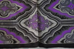 Neiman Marcus 100% Silk Paisley Handkerchief Purple Black Gray New with Tags