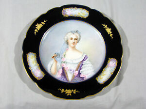 Antique JP FRANCE LIMOGES HAND PAINTED PORTRAIT PLATE - 8 1/2""
