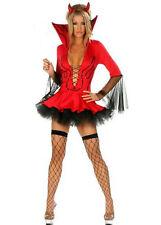 Ladies Halloween Sexy Red Devil Vampire Fancy Dress Costume Horns + Fork