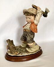 Vintage Giuseppe Armani Gulliver's World Boy Chopping Wood Figure Sculpture
