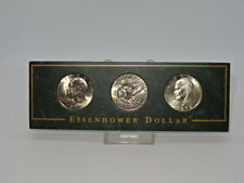 More details for collectable mounted set of 3 united states usa eisenhower dollar coins