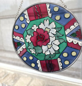 """Joan Baker Designs 4.5"""" Stained Glass Floral Round Suncatcher"""