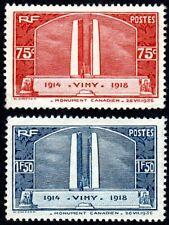 France - Vimy Ridge War Memorial Set - Scott 311 & 312 - MH VF